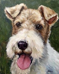 Dog Paintings (and Cat and Other Animals) by Dottie Dracos: A Wire-haired Fox Terrier acrylic painting Fox Terriers, Pitbull Terrier, Perro Fox Terrier, Wirehaired Fox Terrier, Wire Fox Terrier, Terrier Puppies, I Love Dogs, Cute Dogs, Wire Haired Terrier