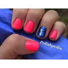 Neon Pink Nails With Blue Glitter ❤ liked on Polyvore