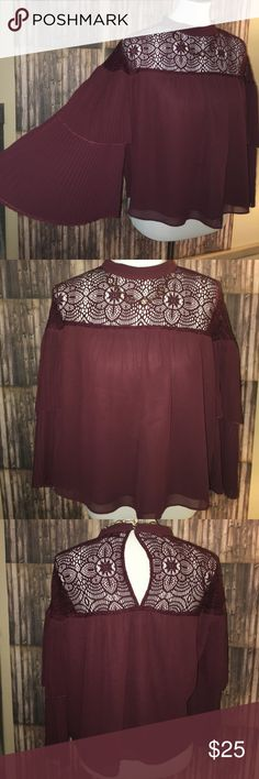 Abercrombie & Fitch Blose Only worn one time, beautiful maroon lace upper, double layer 3/4 bell sleeved, loose fit. Abercrombie & Fitch Tops Blouses