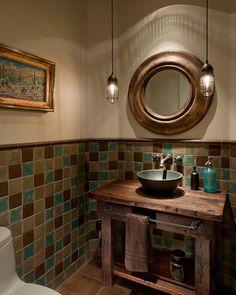 Arizona Ranch bathroom by Angelica Henry Design - like the half tile wall