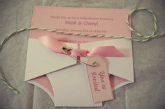 pink strawberry shortcake themed baby shower DIY pink diaper invitation