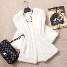 2014 New 100% Real Genuine White Knitted Mink Fur Coat Luxury Women Natural Mink Fur Coats Jackets Female Outerwear Overcoat US $873.00 - 940.00