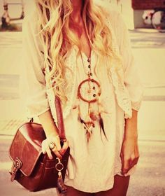 boho top, loose hair & dreamcatcher necklace