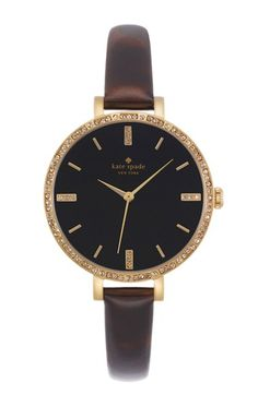 kate spade new york 'metro' crystal bezel leather strap watch.