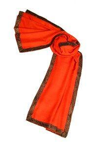 Semi Pashmina,The Carpet Cellar,Silk Pashmina Border Shawl- Hermes Orange