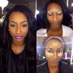 african american women Before Makeup | The white stuff is moisturizer! Put it on before I did her brows. Yes ...