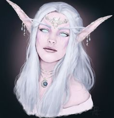 Here is a Fan art of Elune, the goddess of the Night Elves in World of Warcraft. Since there is no reference for her at all exept a small description of what she could look like, I had a lot of fun...