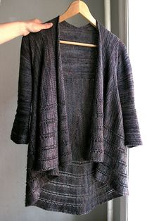 Striped with 2x2 rows. Really hard to catch the original color. The Pocion and Eggplant make a mysterious shade.  Back piece and sleeves, 3.5 mm. Circle piece, 4 mm. - for more drape.  Made 3/4 sle...