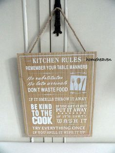Bathroom rules Wall Hanging Plaque Sign wood Shabby chic 30cm #homeheaven…