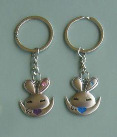 2 pcs lovely rabbit hare Rhinestone charm pendant keyring key ring chain  gifts Hare, Key Rings, Rabbit, Personalized Items, Pendant, Gifts, Bunny, Key Fobs, Rabbits