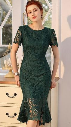 Buy Embroidery Slim Lace Short Sleeve Mermaid Bodycon Dress, Fashion Designed Embroidery Slim Lace S Tight Dresses, Simple Dresses, Dresses With Sleeves, Lace Dresses, Lace Dress Styles, Sheath Dresses, Dress Brukat, Buy Dress, Dress Lace