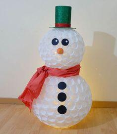 Pupazzo di neve con bicchieri di plastica tutorial