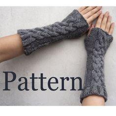 Fingerless gloves pattern/ Cable pattern Fingerless warmers PDF pattern for Knitting