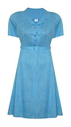 59b5a3d743da 1940'S / 1950'S VINTAGE TURQUOISE BLUE WHITE SPOT PLUS SIZE TEA DRESS SIZE  18: Amazon.co.uk: Clothing
