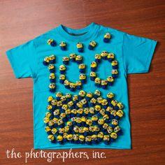 pom pom fuzz ball Minion 100 days of school shirt for Ayden's K5 100th day  http://thephotoginc.blogspot.com/2014/01/100-days-of-school-aydens-k5.html