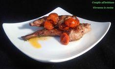 Coniglio all'ischitana, tipico secondo campano adattissimo per una cena in famiglia. Con i pomodorini che sono nella stagione loro è ancora meglio