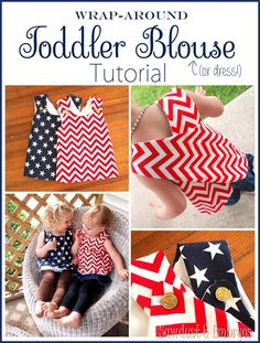 Easy Wrap-Around Toddler Blouse (or Dress!) I get pretty intimidated to do any type of sewing tutorials, because I know so many of you reade. Love Sewing, Sewing For Kids, Baby Sewing, Sew Baby, Sewing Hacks, Sewing Tutorials, Sewing Crafts, Sewing Tips, Dress Tutorials