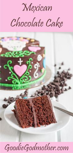 Mexican Chocolate Cake Recipe - Dark chocolate, cinnamon, fresh orange, and everything you love about Mexican chocolate, in cake form with a dark chocolate ganache frosting. This is a perfect Halloween or Dia de los Muertos dessert. Includes links to other great, easy ideas.