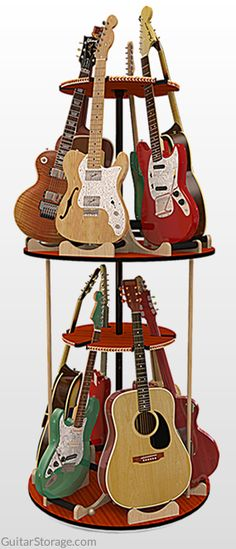 #Guitar collection all over the place? Not anymore, thanks to the Carousel™ Deluxe Multi Guitar Stand. Fit 12 guitars in only 3 feet of space! Check it out at https://guitarstorage.com/shop/multiple-guitar-stand-carousel/