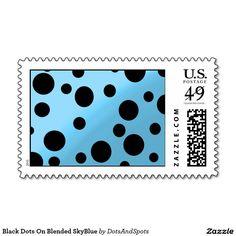 Black Dots On Blended SkyBlue Postage Stamps