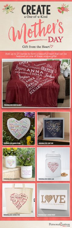 This heart design is BEAUTIFUL! You can personalize it with up to 21 names and choose from 5 colors and have it personalized or engraved on a ton of different types of products! I LOVE these unique Mother's Day Gift ideas!