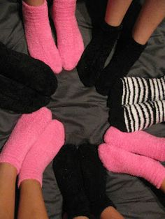 give fuzzy socks for party favors. try to find zebra print give fuzzy socks for party favors. try to find zebra print Slumber Party Birthday, Sleepover Birthday Parties, Girl Sleepover, Pj Party, 13 Birthday, Sleepover Party Ideas For Girls Tween, Hotel Sleepover Party, Slumber Party Ideas, Sweet 16 Sleepover