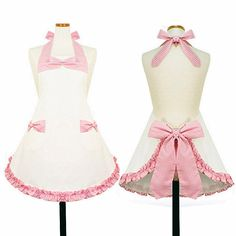 White and Pink Bow Aprons Grands Arcs, Diy And Crafts Sewing, Sewing Projects, Sewing Aprons, I Love Girls, Big Bows, Cotton Fabric, Girl Outfits, Cooking Aprons