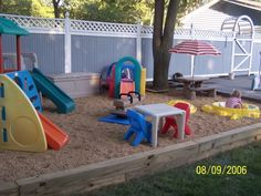 Natural Playground Ideas with plastic play gyms
