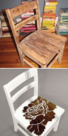 DIY - Rose Chair... Reuse an old chair and turn it into something totally cute.
