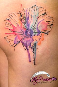 Watercolor hibiscus flower tattoo by Mentjuh