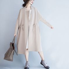 Korean Style Simply Long Wind Coat Women Clothes C2001A