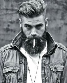 Slicked Back Undercut with Beard - Best Short Haircuts For Men: Cool Short Men's Hairstyles - Short Hair Guys Undercut With Beard, Mens Hairstyles With Beard, Undercut Men, Undercut Hairstyles, Haircuts For Men, Men's Hairstyles Long, Slick Back Undercut, 2018 Haircuts, Slicked Back Hair