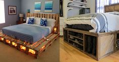 Why buy a bed when you can use pallets to make one? Here are 14 fantastic ideas - pallet beds - Pallet Bed Frames, Diy Pallet Bed, Wooden Pallet Furniture, Diy Bed Frame, Carpentry And Joinery, Used Pallets, Bed Lights, Daughters Room, New Beds