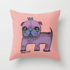 PUG KING Throw Pillow by PINT GRAPHICS - $20.00