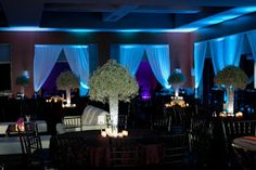 baby's breath centerpiece in tall vases | tall up lit centerpieces are baby s breath large mounds of just baby ...