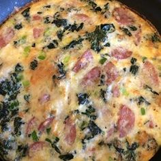 Spinach and Mushroom Frittata {Had this tonight...Pretty good with a few changes!} 167 calories/serving