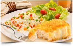 Peixe e Arroz a Grega para Páscoa! http://www.menucriativo.com/2014/04/peixe-no-fuba-e-arroz-grega.html