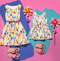 Because two is better than one | Toddler girls' fashion | Kids' clothes | Rainbow confetti print dress | Flower sandals | The Children's Place