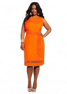 3c985dd56429a Ashley Stewart Women s Plus Size Linen Cutout Dress