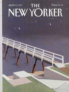 1987 Gretchen Dow Simpson Art New Yorker Cover Walkway Over Water