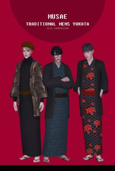 Traditional Mens Yukata for The Sims 4 Sims 4 Hair Male, Sims 4 Male Clothes, Sims 4 Clothing, Los Sims 4 Mods, Sims 4 Game Mods, Sims 4 Mm Cc, Sims Four, Men's Yukata, Maxis