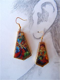 """Handmade terracotta lobe earrings """"ceramic"""" with images taken from two details of a painting by 20th century Italian: Boccioni. Finished by hand with special paint, and with edges and back in solid gold.  maximum height 4.50 cm, 3 mm thick   Shop this product here: spreesy.com/DifferentsEarrings/2   Shop all of our products at http://spreesy.com/DifferentsEarrings      Pinterest selling powered by Spreesy.com"""