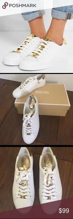 NWT Michael Kors Irving Leather Sneaker with Gold A Michael Kors Jet Set 6 Collection sneaker. Great for so many occasions. Lace up white sneaker with a hint of gold metallic glamour. Cushioned rubber soles. Off Duty Chic! . KORS Michael Kors Shoes Sneakers