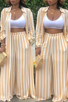 Shyfull Trendy Striped Two-piece Pants SetLong sleeved creme and white 2 piece set. Features elastic waist for a perfect stretch and shirt can be worn as a skirt.Get double the fun with our two-piece sets! Coordinate & make your outfit choice stress Classy Dress, Classy Outfits, Chic Outfits, Fashion Outfits, Hijab Fashion, African Print Fashion, African Fashion Dresses, Look Fashion, Girl Fashion