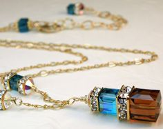 Collar de cristal de Swarovski Teal y Chocolate, llenadas de oro, turquesa azul marrón cubo, regalo de la joyería de Dama de honor, boda hechos a mano, listo para enviar