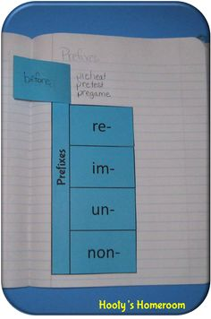 This is a great way for students to learn their prefixes. Under each flap their is a list of words that uses each prefix. This is a good tool to have when students are writing. They could do this in their writing journals so when they are stuck they know where it is.