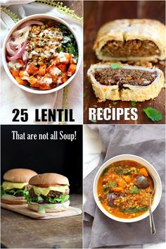 25 Easy Lentil Recipes not all Lentil Soup. Brown, green, Red Lentils in Bowls, Tacos, Soups, Enchiladas, sloppy Sandwiches, fritters, casseroles Vegan Glutenfree Soyfree Recipe
