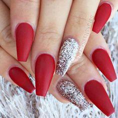 Holiday Red And Silver Glitter Long Coffin Nails Nail Nailart