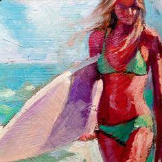Oil painting by Wade Koniakowsky Oil Painting Texture, Hawaiian Art, Hippie Art, Surf Art, Ocean Art, Beach Art, Lovers Art, Art Inspo, Art Girl
