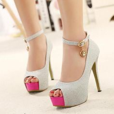 Silver Peep Toe High Heels Fashion Shoes